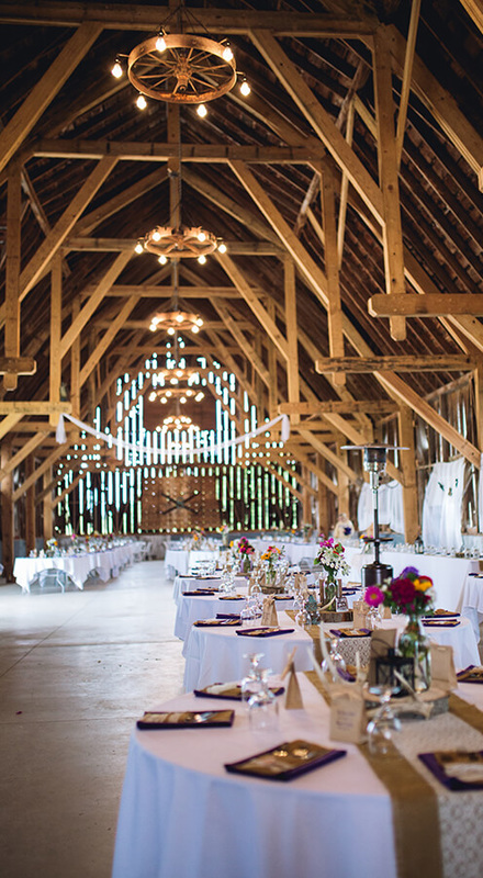 wedding reception in historic Northern Michigan barn in Charlevoix